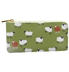 A stylish fabric zip purse decorated with a  sheep design on a green background