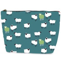 A stylish fabric cosmetics bag decorated with a green and white sheep design on a green background