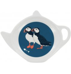 A charming melamine tea bag tidy in a navy tone covered with a cute Puffin decal