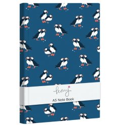A sleek hardback notebook decorated with a puffin print on a navy background