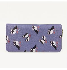 A charming fabric zip purse in a navy tone covered with a cute Puffin decal