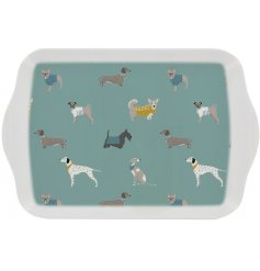 A stylish themed serving tray with a light blue tone and printed with a charming dog decal