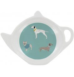 A stylish themed teabag tidy with a light blue tone and printed with a charming dog decal