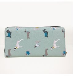 A stylish zip up purse set with a light blue tone and printed with a charming dog decal