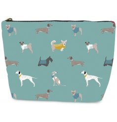 A stylish zip up cosmetic bag set with a light blue tone and printed with a charming dog decal