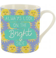 A fine china mug sweetly decorated with smiling sunshines and a script text to finish