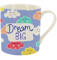 A quirky fine china mug with a colourful cloud design and positive text