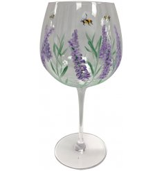 Decorated with a hand painted display of purple lavender and bumblebees