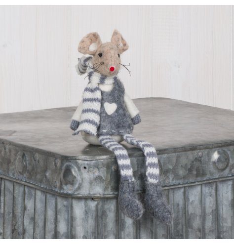 A sweet little felt mouse decoration with long grey and white striped legs and matching scarf