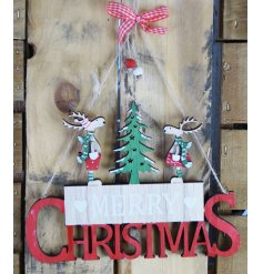 A hanging Merry Christmas Sign with festive colours and display