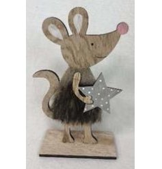 A sweet little natural wooden standing mouse decoration set with a faux fur trimming
