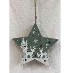 Sure to hang beautifully in any Tree at Christmas, a grey wooden hanging star with a warm glowing centre and snowy wood