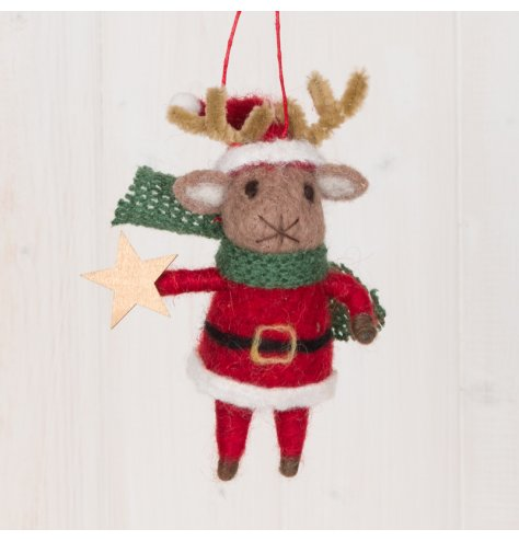 A festive little hanging woollen reindeer decoration with a red tone and added green knitted scarf