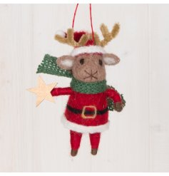 A fun and festive themed hanging woollen reindeer dressed up in Santas Clothes