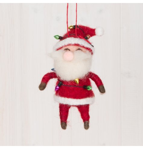 A festive little hanging woollen Santa decoration with a red tone and fun fairy light decal around him