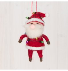 A fun and festive themed hanging woollen santa wrapped up in coloured lights