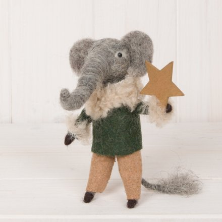 Woollen Elephant Holding Star, 13cm