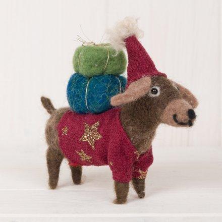 Woollen Dog With Parcels, 12cm