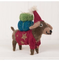 An adorable woollen dog decoration complete with a christmas jumper and parcels on his back