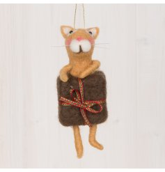 A sweet and small woollen hanging ginger cat popping out of a present