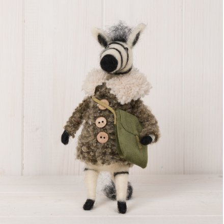 Woollen Zebra With Satchel, 17.5cm
