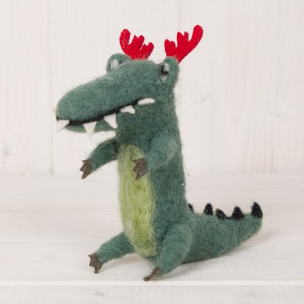 Woollen Crocodile With Antlers, 11.5cm