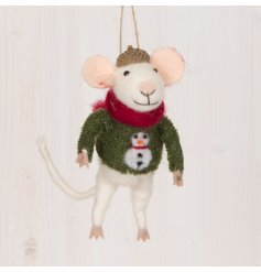 An adorable hanging woollen mouse decoration complete with an acorn hat and festive green jumper