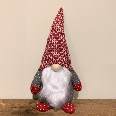Nordic coloured Fabric Gonk Decoration with a traditional fuzzy white beard