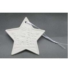 Hanging from a grey ribbon, this small ceramic star also features a woodland scene display