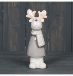 A small grey standing ceramic Reindeer