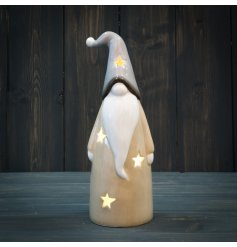 Filled with a warm glowing LED, this standing ceramic gonk has a soft grey and beige tone