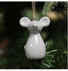 A simple little hanging ceramic mouse decoration