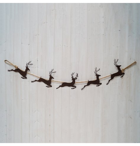 A simple garland featuring a distressed reindeer display