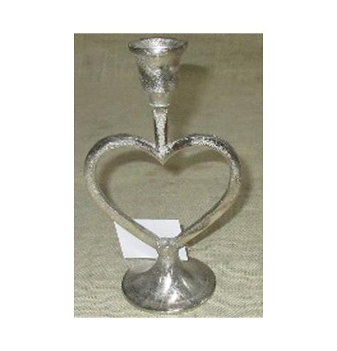 A heart cut candelabra with a distressed silver tone to it