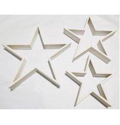 A simplistic standing wooden star set with a white washed tone