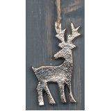 A rough hanging aluminium reindeer decoration complete with a distressed jute string
