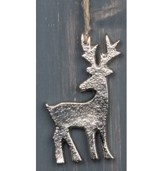 A small hanging silver aluminium reindeer decoration, sure to place perfectly in any themed tree at Christmas time
