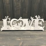 A charming and vintage inspired metal triple tlight holder with a bird decal and bold Love Lettering