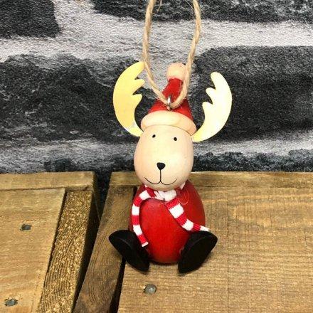 Red Reindeer Hanging Decoration, 8.5cm