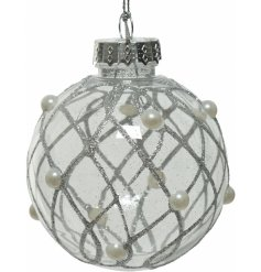 A clear shatterproof bauble featuring a glitter lattice design and pearly finish