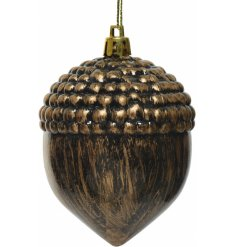 A sleek and simple hanging acorn tree decoration set in a tarnished bronze tone