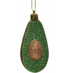 Sure to add a quirky twist to any Christmas Scene Display, a hanging glittery Avocado decoration