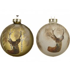 A gorgeous assortment of gold and white toned bauble decorated with a woodland stag print and added glittery finish