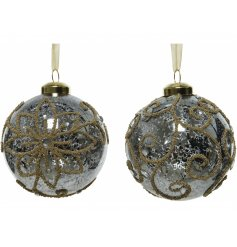 A mix of clear mottled glass baubles beautifully decorated with a golden beaded decal