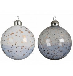 , these baubles feature an ombre setting and bronze speck covering