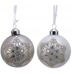 A luxe assortment of hanging glass matte baubles each set with a beautiful glitter snowflake print