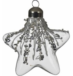 A gorgeous clear glass star hanging decoration filled with a beaded and sequin decal