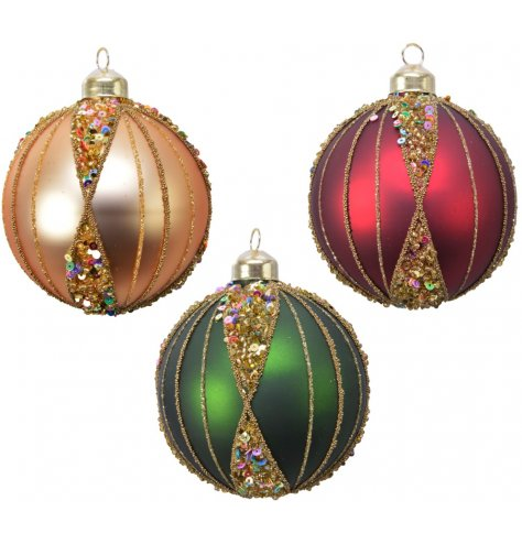 Stunning glass baubles in assorted jewel colours. Complete with jewel sequins and elegant gold glitter patterns.