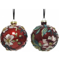 Sure to add class to any tree at Christmas, these red and oxblood baubles each has a gorgeous embroidery inspired look
