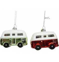 A quirky mix of red and green shiny van hanging decorations